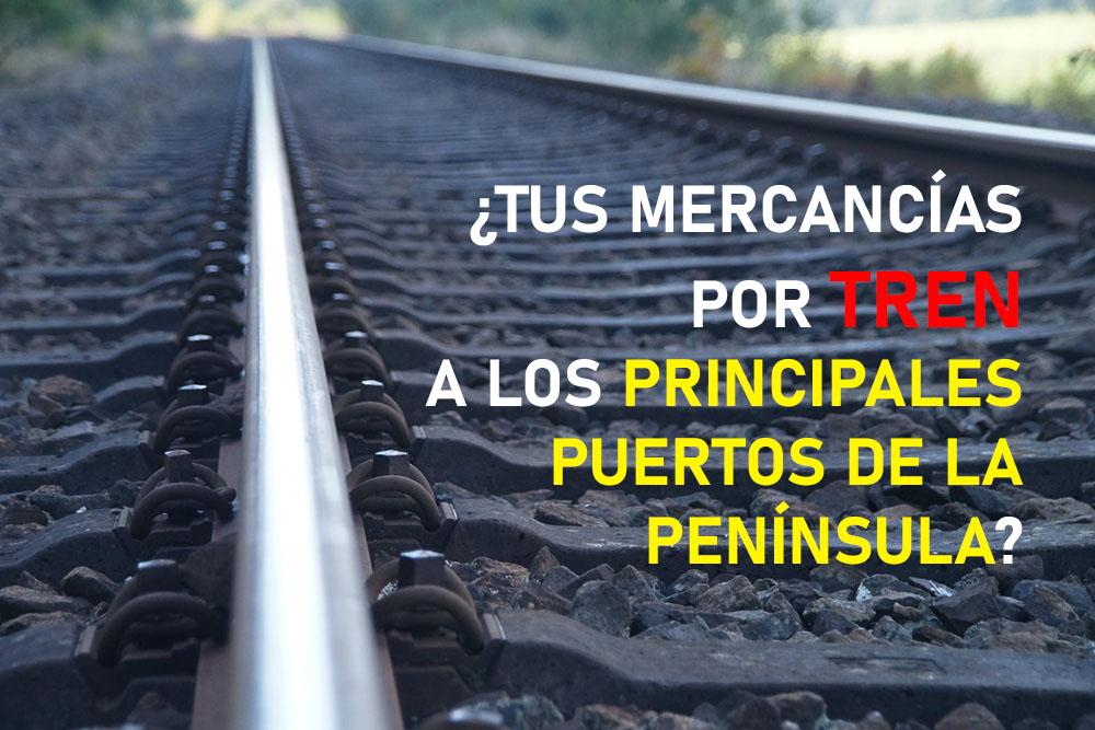 ¿Tus mercancías por tren a los principales puertos de la península?